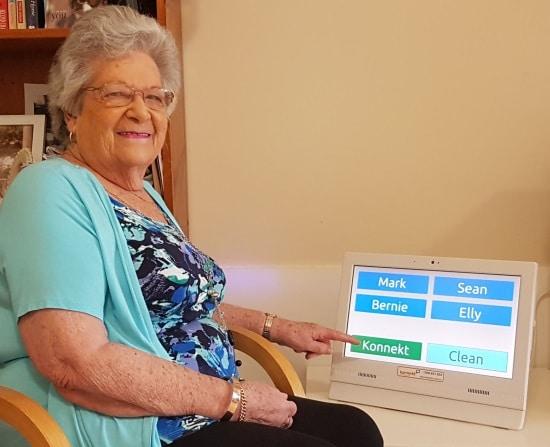 Marlene calls her family face-to-face using  Konnekt Videophone.