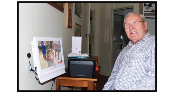 Graham talks to great-granddaughter Chloe using his Konnekt Videophone
