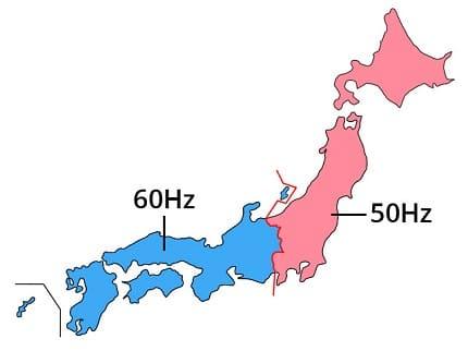 Japan 50Hz 60Hz map