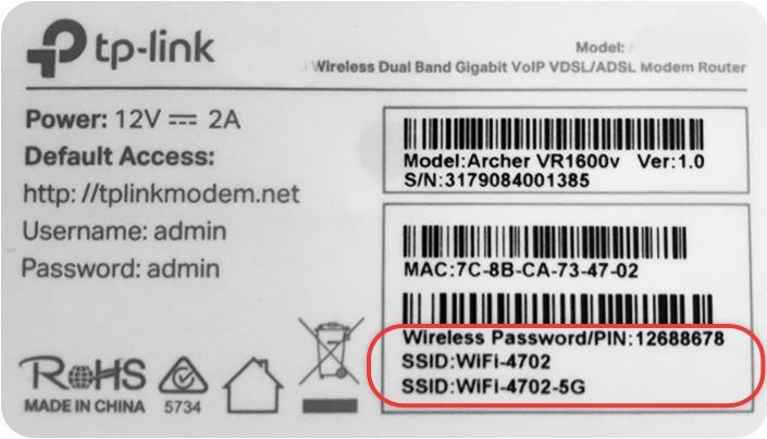 Wi-Fi credentials